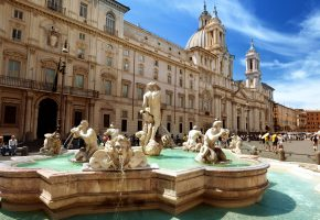 Обои италия, рим, площадь пьяцца, фонтан мавра, rome, piazza navona, fontana del ...