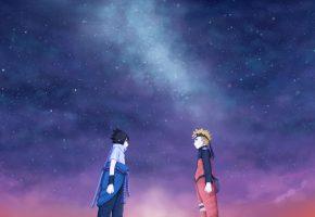 Обои art, juneau, naruto, sasuke, naruto, друзья, звездное небо