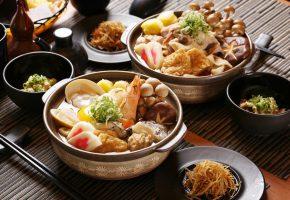 Обои японская кухня, блюда, морепродукты, тофу, креветки, грибы