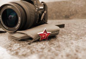 Обои 9 мая, фотоаппарат, звезда, пилотка