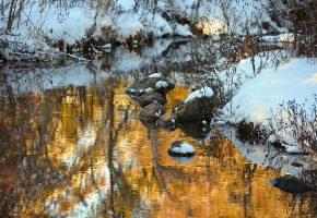 Обои речка, камни, снег, трава, сухая