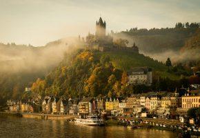 Обои Германия, Кохем, замок, осень, утро, туман, река, Мозель