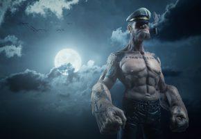 Обои Моряк, Попай, тату, мышцы, трубка, небо, тучи, луна, облака
