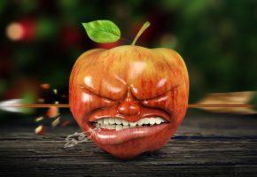 Обои рендеринг, ситуация, яблоко, стрела, зубы
