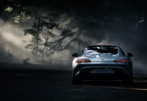 Обои Mercedes-Benz, AMG, GT S, 2016, Silver, Color, Sun, Dark, Forest, Rear