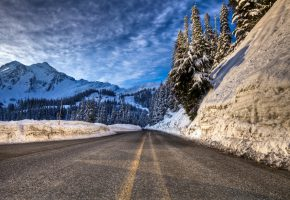 ���� winter, mountain, road, forest, snow, ����, ���, ������, ����