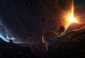 Обои космос, планета, разрушение, взрыв, фантастика