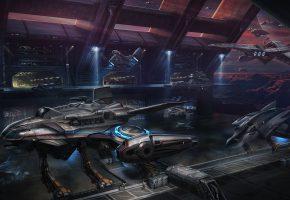 Обои порт, космические корабли, spaceship, фантастика, art, планета, горы