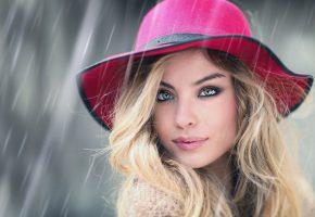 Обои девушка, взгляд, шляпа, макияж, красивая, личико