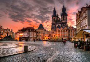 Обои Прага, Чехия, утро, площадь, здания