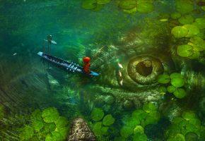 Обои Лодка, рыбак, костюм, вода, глаз