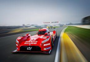 Обои Nissan GT-R LM Nismo, Размытие, Передок, гонка, трасса