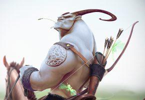 Обои рога, лук, стрелы, лицо, взгляд, лошадь