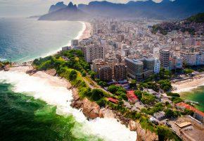 Обои Rio de Janeiro, Бразилия, панорама, пейзаж, мегаполис, море, побережье, пля ...