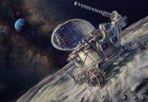 Обои арт, живопись, картина, космос, луноход, СССР, Земля, Луна, обои