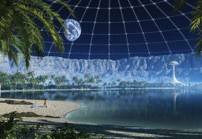 Обои земля, луна, космос, планета, свет, кратер, пальмы, пальма, пляж, песок, здание, вышка, база, станция, будущее, фантастика, фэнтези, креатив, арт