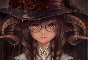 Обои арт, девушка, очки, рога, шляпа, розы, дождь
