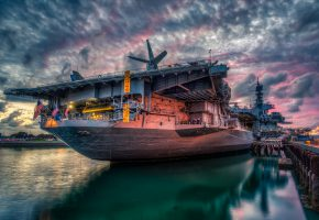 Обои San Diego, корабль, USS Midway, Sunset, военный, порт