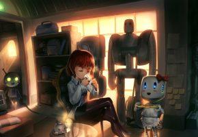 Обои Девочка, рыжая, сидит, комната, роботы, слуги, шкаф, стол, чаепитие, окно,  ...