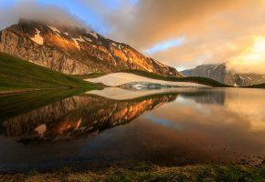 Обои Греция, Epirus, горы, гора, Тимфи, озеро, Dragonlake, небо, отражения