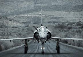 Обои Истребитель, взлетная полоса, крылья, Мираж