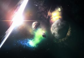 Обои Астероиды, Земля, звезды, туманность, свет, планета