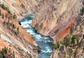 Обои река, речка, поток, пороги, ущелье, каньон, скалы, деревья, высота, пейзаж