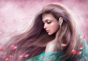 Обои девушка, волосы, профиль, настроение, лепестки, серьга