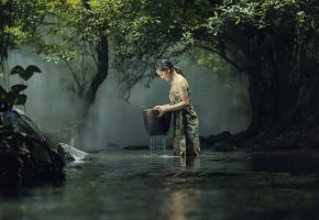 Обои таиланд, речка, женщина, рыбалка, корзина