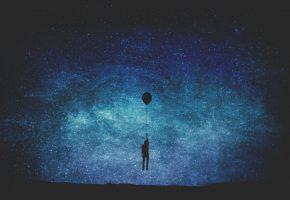 Обои Млечный Путь, мужчина, воздушный шар, звезды, тайны