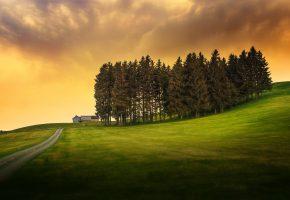 Обои пейзаж, небо, облака, дом, деревья, газон, трава, дорога, закат