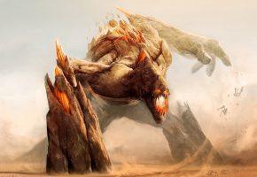 Обои Монстр, дьявол, пасть, гигант, ужас, смерть, поле боя, армия, пушки