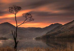 Обои England, Озёрный край, Англия, озеро, горы, дерево, закат