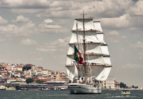 Обои Lisbon, Portugal, Tagus River, Лиссабон, Португалия, река Тахо, парусник, барк, река