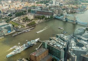 Обои London, England, город, река, мост, корабли