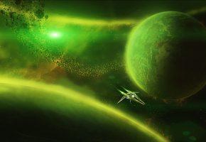 Обои вселенная, планета, астероид, космос, космический корабль