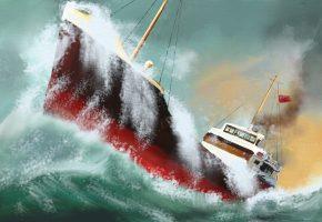 Обои корабль, море, шторм, волны, ветер