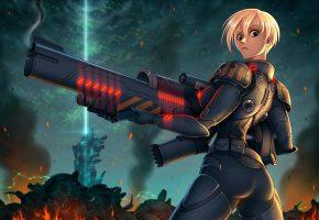 Обои солдат, блондинка, броня, пушка