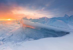 Обои озеро, Байкал, лёд, зима, солнце