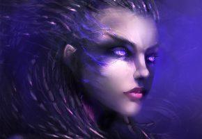 Обои StarCraft 2, Sarah Kerrigan, лицо, взгляд, персонаж, игра