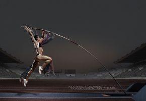 Обои Прыжок, шест, девушка, спортсменка, стадион, мышцы