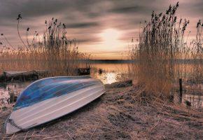 Обои лодка, берег, камыш, пристань, озеро