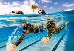 Обои бассейн, спортсмены, пловцы, синхронность