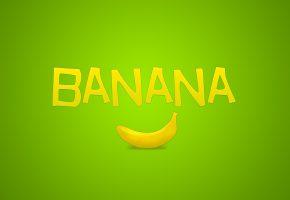 Обои зелёный, надпись, фрукт, Банан, минимализм