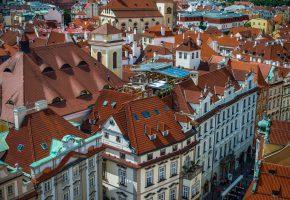 Обои Прага, Чехия, улица, дома, крыши, панорама