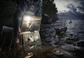 Обои корабль, картина, зеркало, вода, море, человек