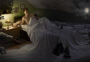 Обои кровать, сон, ночь, луна, зима, снег, ёлка, лампа, мужик, человек, мужчина