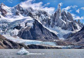 Обои зима, снег, горы, лед, океан, айзберг