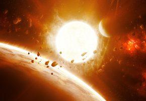 Обои вселенная, огонь, астероиды, звезды, планета