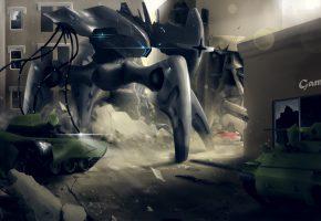 Обои фантастика, робот, город, руины, металл